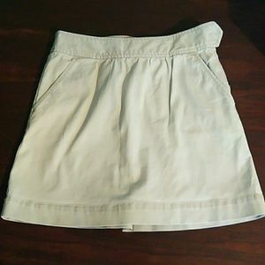 J Crew Khaki Mini Skirt w/ Pockets 0